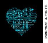 heart in circuit board... | Shutterstock .eps vector #374983141