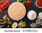 thousand island dressing with... | Shutterstock . vector #374987221
