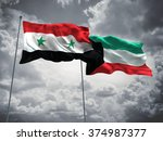 syria   kuwait flags are waving ... | Shutterstock . vector #374987377