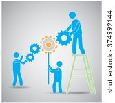 group of people working... | Shutterstock .eps vector #374992144