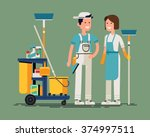 cool vector cleaning staff... | Shutterstock .eps vector #374997511