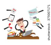 exhausted and stressed... | Shutterstock .eps vector #375007171