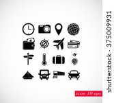 travel icons set | Shutterstock .eps vector #375009931