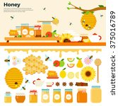 Honey Products Vector Flat...