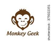monkey geek   monkey vector... | Shutterstock .eps vector #375022351