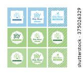 set of labels on textured... | Shutterstock .eps vector #375026329