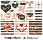 valentine elements in rose gold ... | Shutterstock .eps vector #375030664