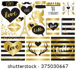 valentine elements in gold foil ... | Shutterstock .eps vector #375030667
