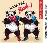 The Boxing Two Pandas. Vector...