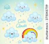set with cute clouds  rainy... | Shutterstock .eps vector #375043759
