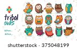 set of tribal owls | Shutterstock .eps vector #375048199