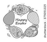 rounder frame with easter eggs... | Shutterstock .eps vector #375051325
