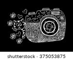 retro photo camera with cute... | Shutterstock .eps vector #375053875