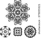 tribal tattoo circular raster... | Shutterstock . vector #375055321