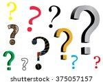 assortment of question mark... | Shutterstock .eps vector #375057157