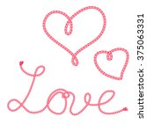 hand drawn hearts with rope.... | Shutterstock .eps vector #375063331