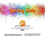 Spring sale geometric banner. Vector eps10 format.