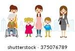 various women child care worker ...   Shutterstock .eps vector #375076789