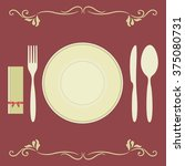 dinner empty plate with knife ... | Shutterstock .eps vector #375080731