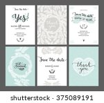 set of save the date cards ... | Shutterstock . vector #375089191