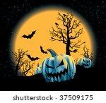 spooky pumpkin patch on a full...   Shutterstock .eps vector #37509175