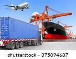 commercial delivery cargo... | Shutterstock . vector #375094687