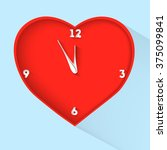 valentines day clock. red heart ... | Shutterstock .eps vector #375099841