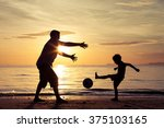 father and son playing on the... | Shutterstock . vector #375103165