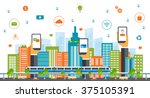 business smart city concept ... | Shutterstock .eps vector #375105391
