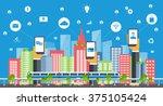 business smart city concept ...   Shutterstock .eps vector #375105424