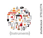 template with tools. decorated... | Shutterstock .eps vector #375112774