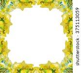 watercolor wreath of flowers.... | Shutterstock . vector #375113059