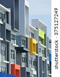 Small photo of CYBERJAYA, MALAYSIA - AUGUST 2014: Building façade design with pattern and colours on August 23, 2014 at Cyberjaya, Malaysia