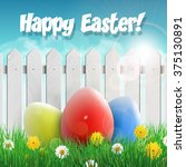 easter card with easter eggs... | Shutterstock .eps vector #375130891