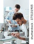 engineering students working in ... | Shutterstock . vector #375131905
