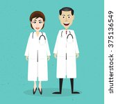 doctor character man and women... | Shutterstock .eps vector #375136549