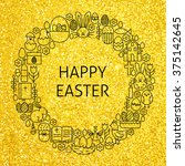 gold happy easter holiday line... | Shutterstock .eps vector #375142645
