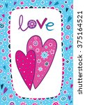 """postcard with hearts """"love"""" 