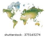 illustration world map and the... | Shutterstock . vector #375165274