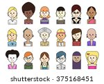 female portrait collection made ... | Shutterstock .eps vector #375168451