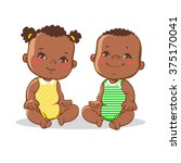 smiling toddler boy and girl... | Shutterstock .eps vector #375170041
