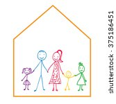 stick figure  happy family | Shutterstock .eps vector #375186451