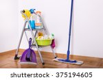 cleaning supplies on ladder and ...   Shutterstock . vector #375194605