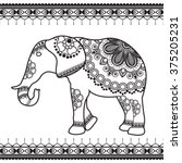 elephant with border elements... | Shutterstock .eps vector #375205231