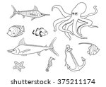 coloring book   submarine set | Shutterstock .eps vector #375211174