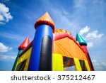 Small photo of Children's inflatable jumpy house castle top half.
