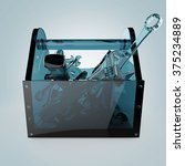 blue glass toolbox with...