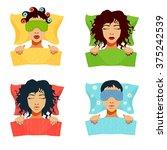 sleeping women with blanket ... | Shutterstock .eps vector #375242539