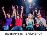 people in the cinema wearing 3d ... | Shutterstock . vector #375249409