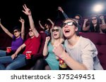 people in the cinema wearing 3d ... | Shutterstock . vector #375249451